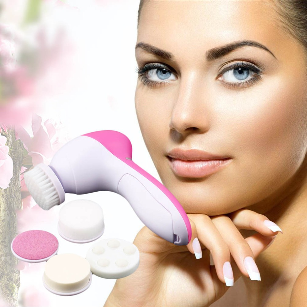5 In 1 Electric Wash Face Machine Facial Pore Cleaner Cleansing Massage Skin Beauty Massager Brush Clean Brushes