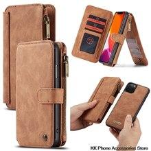 Afneembare Flip Lederen Telefoon Case Voor iPhone 11 Pro Max Case Luxe Multifunctionele Rits Portemonnee Cover Voor iPhone 11 Case fundas
