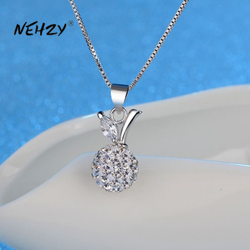 NEHZY 925 Sterling Silver New Woman Fashion Jewelry High Quality Crystal Ball Zircon Apple Pendant Necklace Length 45cm