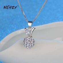 NEHZY – collier en argent Sterling 925 pour femme, boule de cristal de haute qualité, Zircon, pendentif Apple, longueur 45cm, nouvelle collection