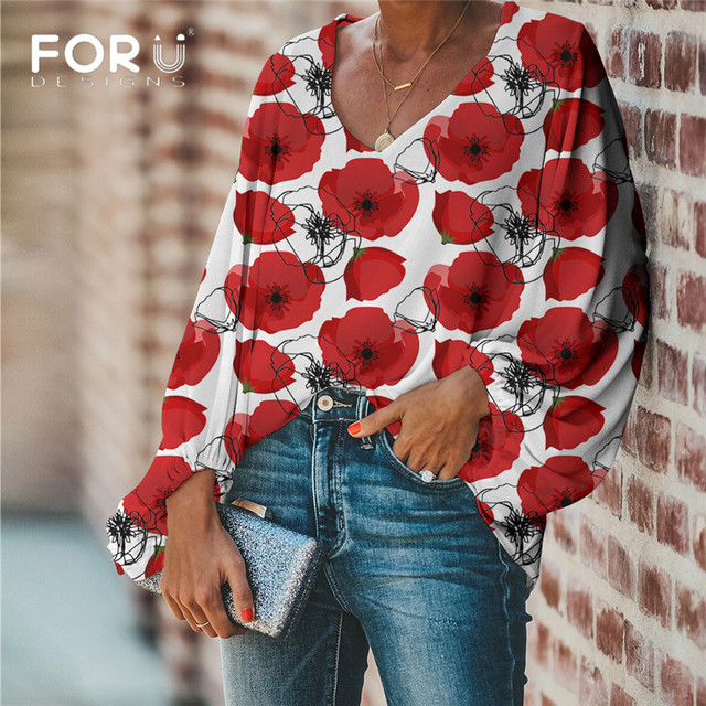 FORUDESIGNS Large Size Colorful Flower Pattern Tops and Blouses Casual Loose V-Neck Shirts Female Clothes 3