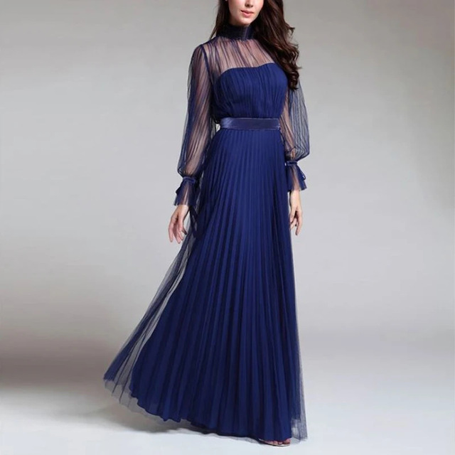 Spring and summer new blue temperament  dress female banquet annual meeting atmosphere long style dress 1