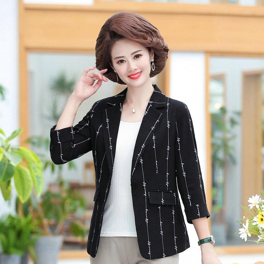 Mature Women Black Slim Fit Blazer Autumn Spring Three Quarter Sleeve Notched Collar Jacket Suit Middle Aged Woman Blazers XXXXL