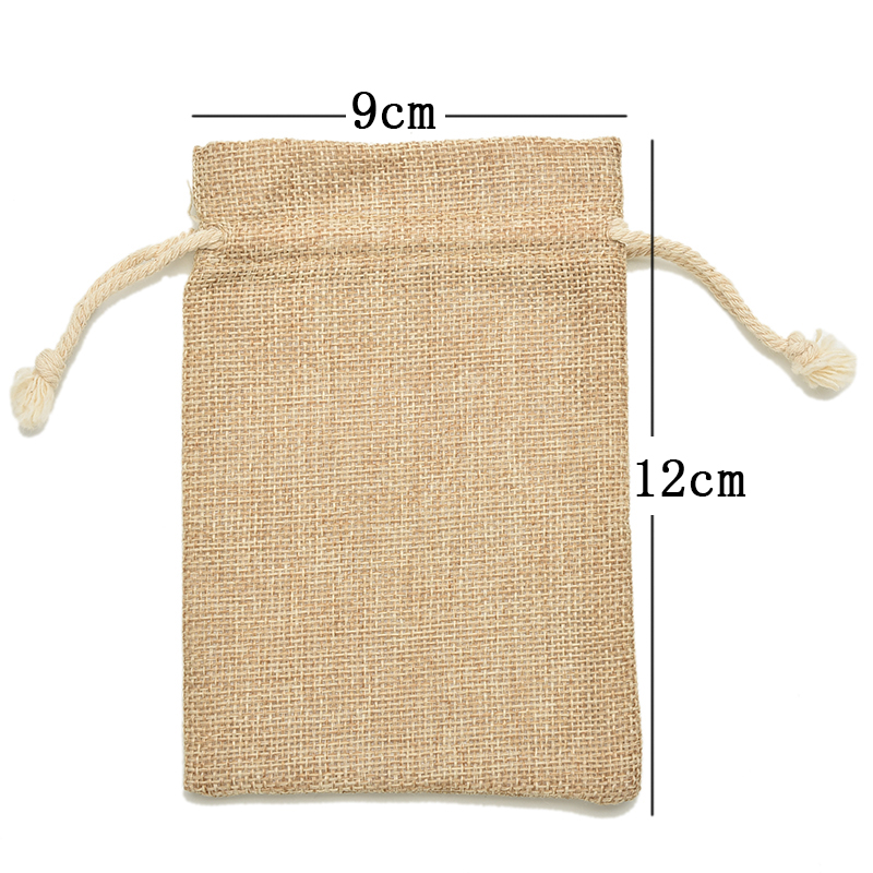 1PCS 9*12cm Mini Rustic Burlap Pouch Sack Drawstring Tie Bag Christmas Rustic Bag Wedding Party Favor Jewelry Pouches Bags
