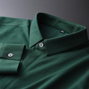 Image 4 - Minglu camisas de algodón verde para hombre, camisas de manga larga a la moda, de talla grande 4xl, ajustadas