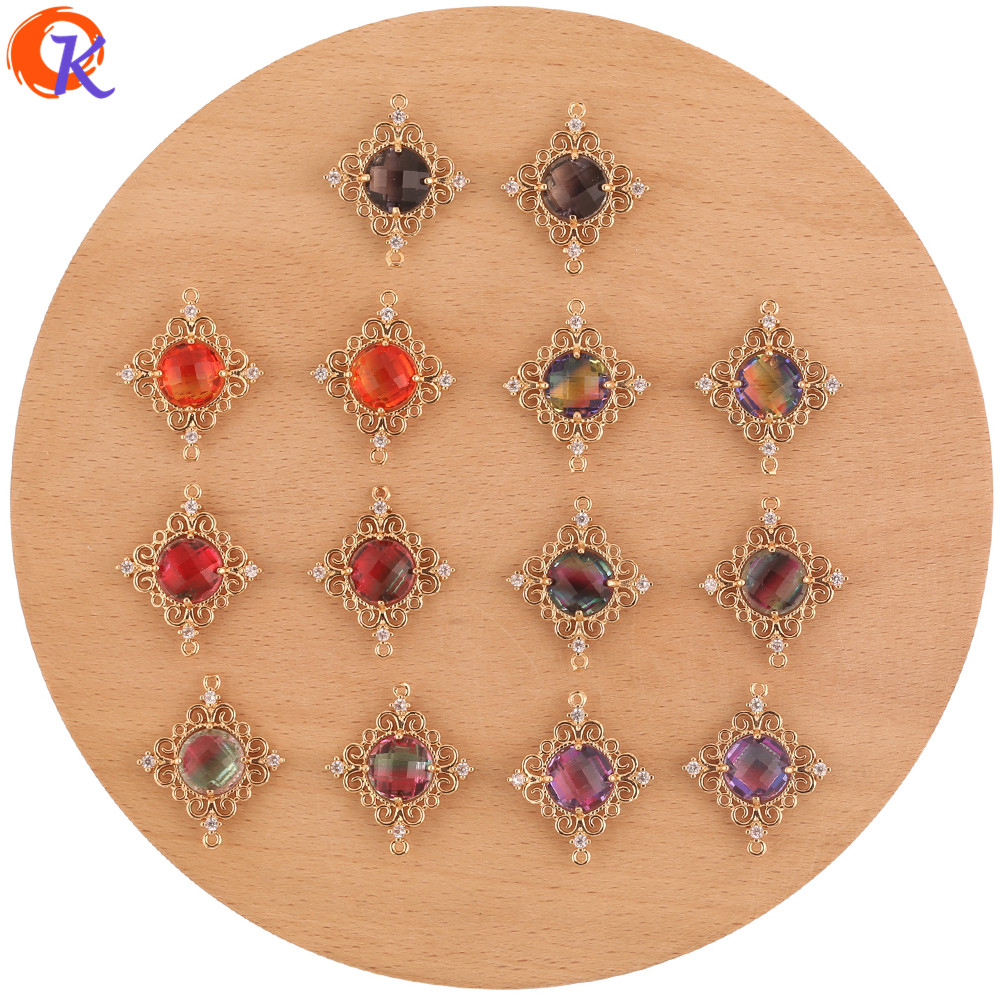 Cordial Design 30Pcs 23*27MM Jewelry Accessories/DIY Making/Hand Made/Round Shape/Crystal Charms/Connectors/Earring Findings