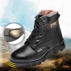 Homem sapatos de Inverno de Couro Genuíno lace-up botas de trabalho de segurança biqueiras de aço anti-furo além big size botas de combate