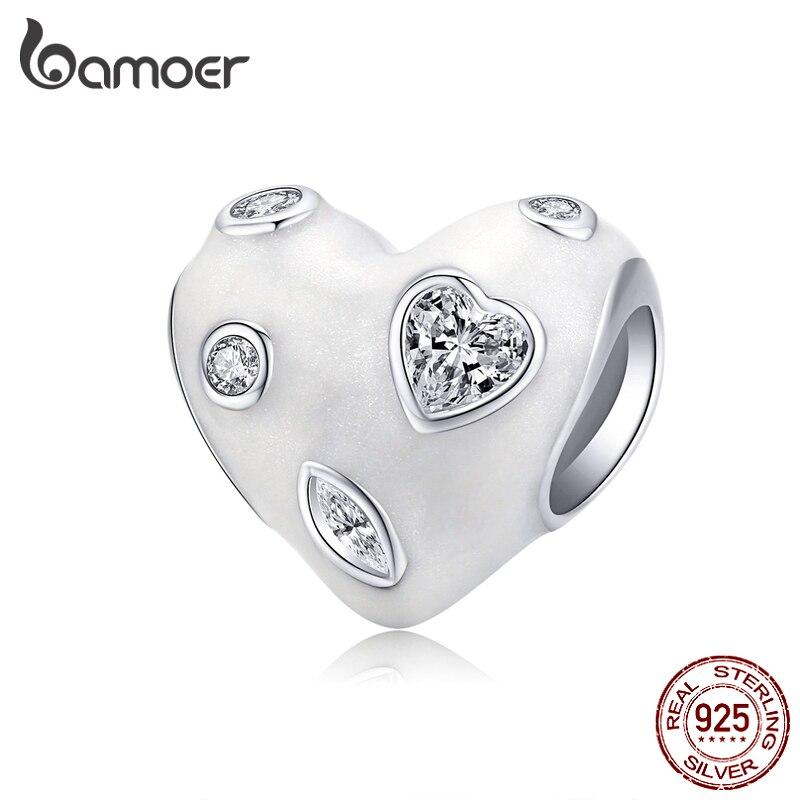Bamoer Pure Heart White Enamel Charm Fit Original Bracelet 925 Sterling Silver DIY Jewelry Making Bracelet Accessories BSC179