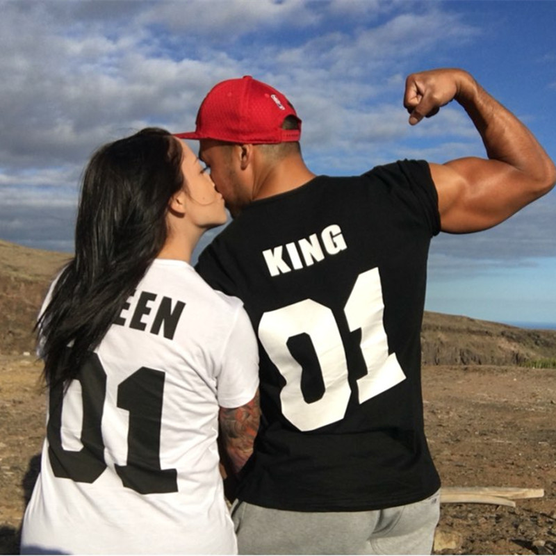LUSLOS King Queen Couple T-shirt Clothes Femme Tshirt Streetwear Graphic Tee Shirt Homme Black White T Shirt