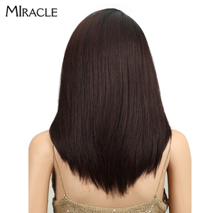 Image 4 - Synthetic Lace Front Wig Long Straight Bob wig 18Inch Right Part Ombre Bob Heat Resistant Synthetic Wigs For Women Miracle wig