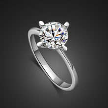 The new fashion genuine silver ring woman.Classic engagement ring dazzling zircon ring.Charming lady silver process jewellery(China)