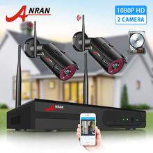ANRAN 2CH Security System 1080P HD Video Surveillance Wireless NVR Kit Outdoor IP Camera System IP66 Waterproof Night Vision