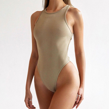 Back Cross Knit Bodycon Women Bodysuit   3