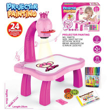 Children Led Projector Art Drawing Table Toys Kids Painting Board Desk Set Arts Educational Learning Paint Tools Toy for BoyGirl