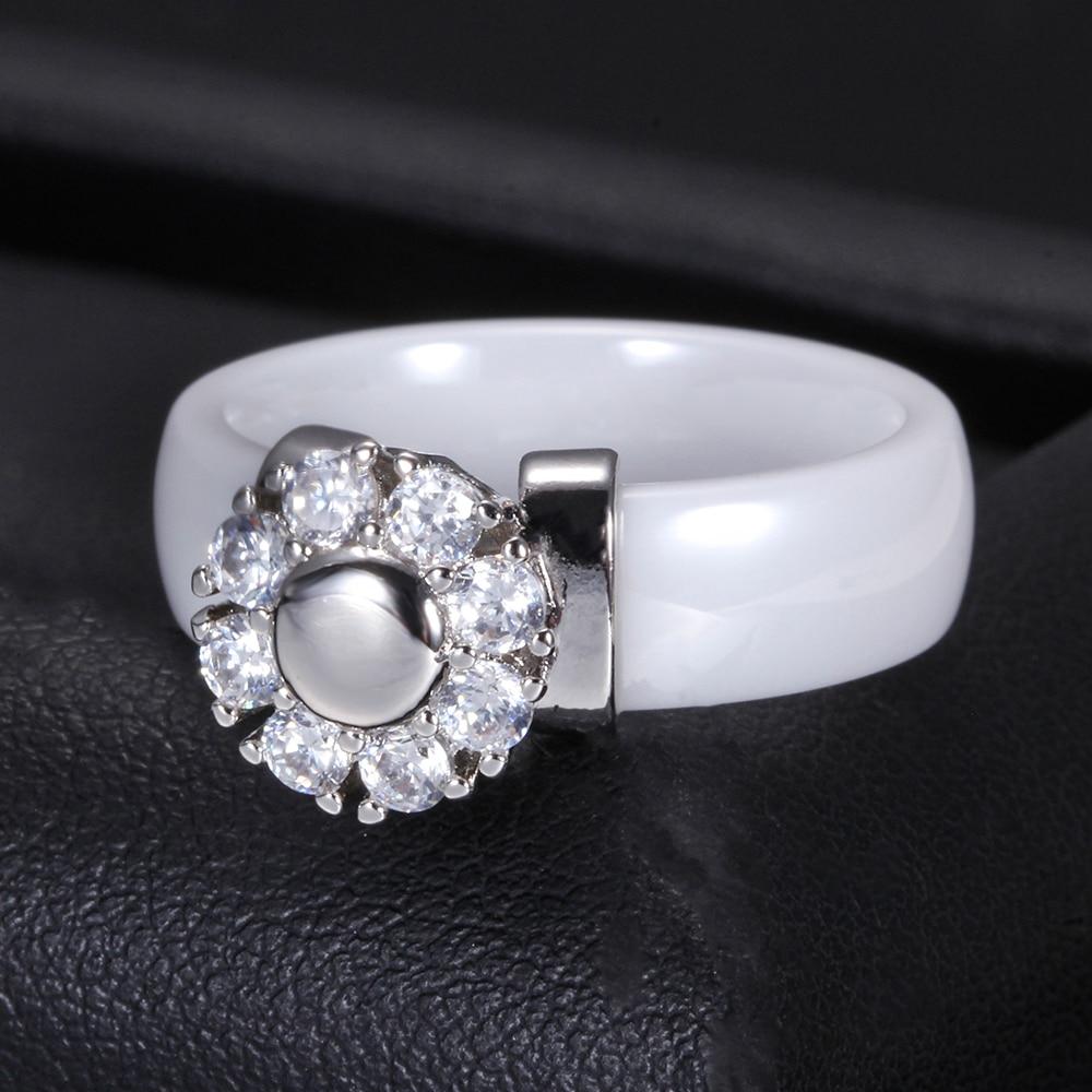 Black&White Ceramic Rings For Women Cubic Zircon Stainless Steel Engagement Wedding Rings Elegant Love Rings Ceramic Jewelry 6