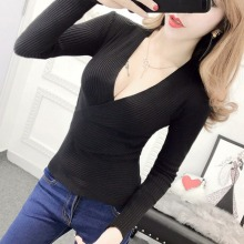 Autumn Long Sleeve Sweater Sexy Cross V Neck Knitted  Women Sweaters Fashion Pullovers NS