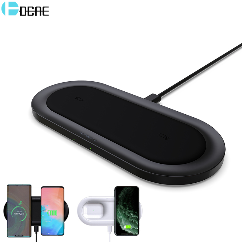 20W Qi Wireless Charger For iPhone 11 XS XR 8 Airpods Pro Dual 10W Fast Charging Pad for Samsung S20 S10 Induction Quick Charge