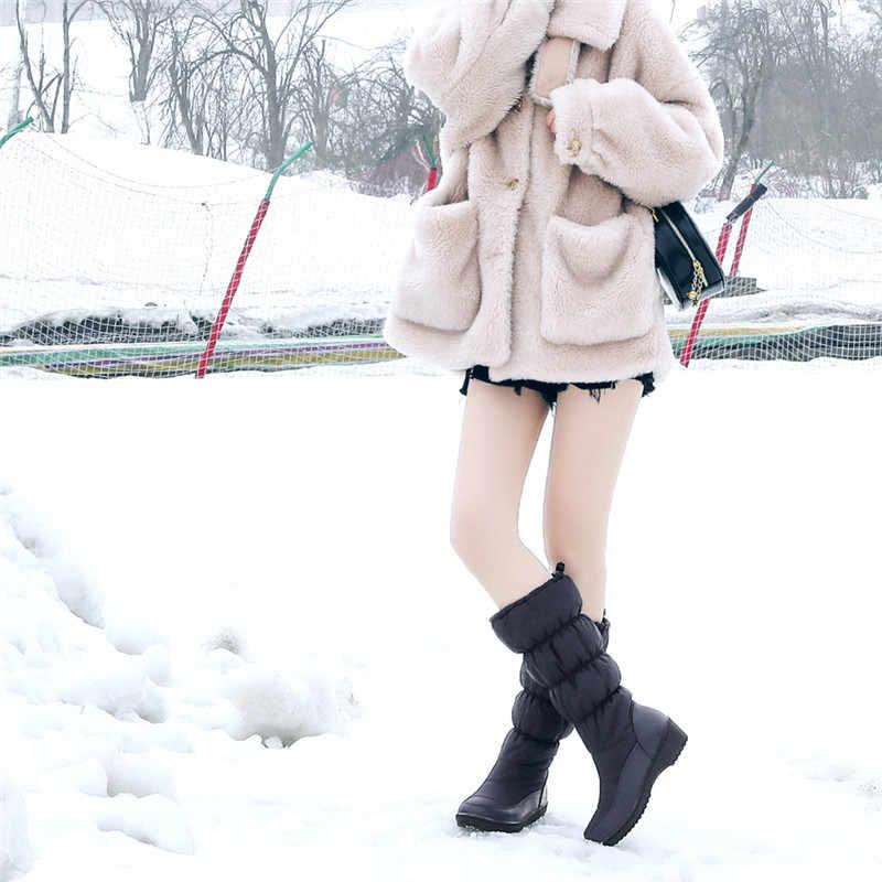ASUMER/2020 г. Новые зимние сапоги женские удобные теплые зимние сапоги на толстом меху женские сапоги до середины икры женская обувь Размеры 35-44