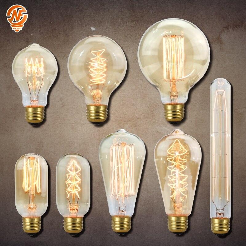 Retro Vintage Edison bulb E27 Ampoule Vintage Bulb 40W 220V Edison Lamp Filament Incandescent Light bulb For Home Decor