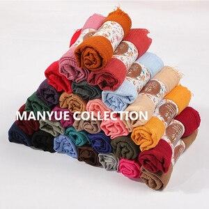 Image 2 - 卸売価格 90*180 センチメートル女性イスラム教徒ヒジャーブスカーフファムクリンクル musulman ソフト綿スカーフイスラムヒジャーブショールとラップ