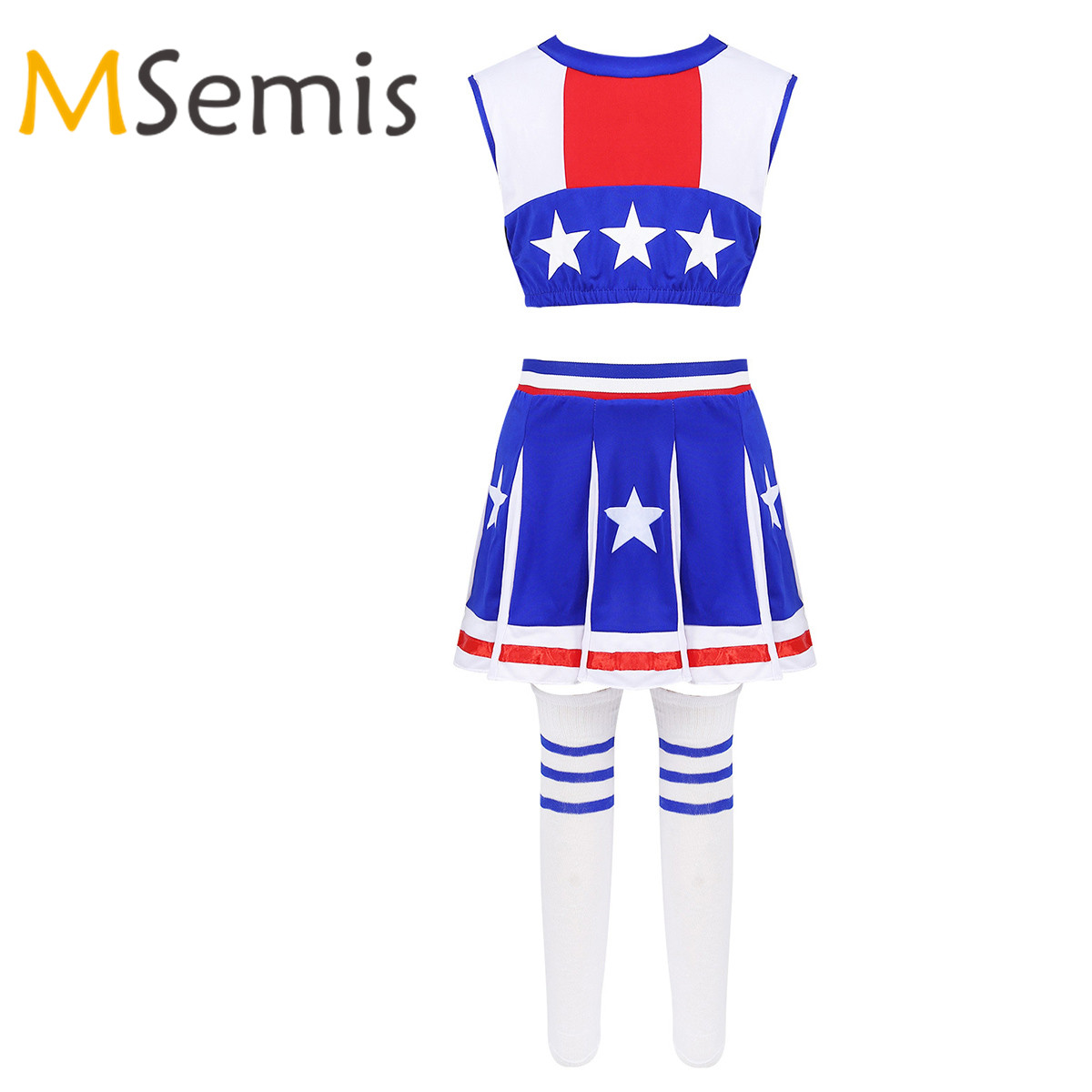 Worn Once USA Stars /& Stripes Lycra Cheerleader Costume age 8-10 Years Size 2