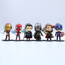 6 Piece Set / Avengers Garage Keychain Iron Man Spiderman Batman Cartoon Bag Car Pendant Decoration Gift