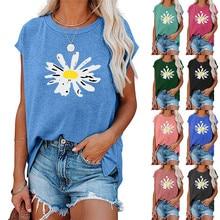 Women's Little Daisy Print Side Hem Split Crew Neck T-shirt Summer Casual Sleeveless Tee Simple Solid Color Tank Top Loose Vest