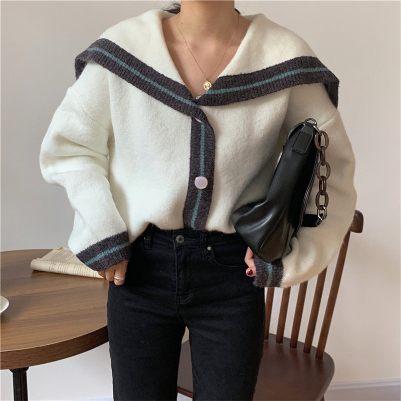 HziriP Navy Style Lapel Sweet Thicken Office Lady Brief Loose Casual Knitted 2020 Vintage Chic All-Match Cardigans Sweaters