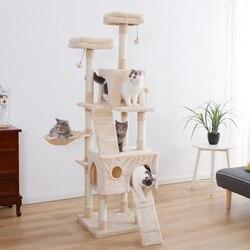 Envío doméstico madera escalada árbol gato juguete de salto divertido rascador postes sólido gatos marco para escalar productos para mascotas