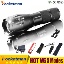 Super Bright Tactical Flashlight Waterproof Rechargeable LED Flashlight 5 Modes T6 V6 linterna torch 18650 Battery Powerful 30 jiguoor super bright led flashlight ipx 8 waterproof q8 4x xp l 5000lm powerful professional multiple operation procedure 18650