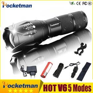 Image 1 - Super Bright latarka taktyczna wodoodporna akumulatorowa lampa LED latarka 5 trybów T6 V6 latarka linterna 18650 bateria mocna 30
