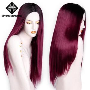 Image 1 - Длинные Синтетические парики Spring sunshine, термостойкие, шелковистые, прямые, 22 дюйма, бордовые, черные, серые, розовые, коричневые