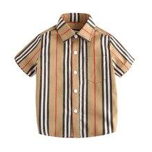 Рубашка для мальчиков г., Новая Стильная летняя детская рубашка в полоску с короткими рукавами и отложным воротником детская одежда из чистого хлопка в европейском и американском стиле