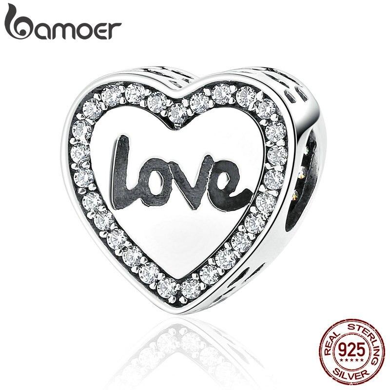 Bamoer 4 estilos 925 prata esterlina amor coração vida redonda alfabeto encantos ajuste pulseiras colares moda feminina jóias scc089