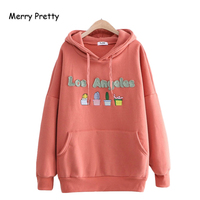 Merry Pretty Cotton Women's Cartoon Cactus Embroidery Hoodies Sweatshirts 2019 Winter Long Sleeve Hooded Tracksuit Pullovers