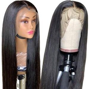 Image 3 - 360 perruque de dentelle droite dentelle police perruque pré plumé dentelle frontale perruques de cheveux humains pour les femmes noires péruviennes Transparent dentelle avant perruque