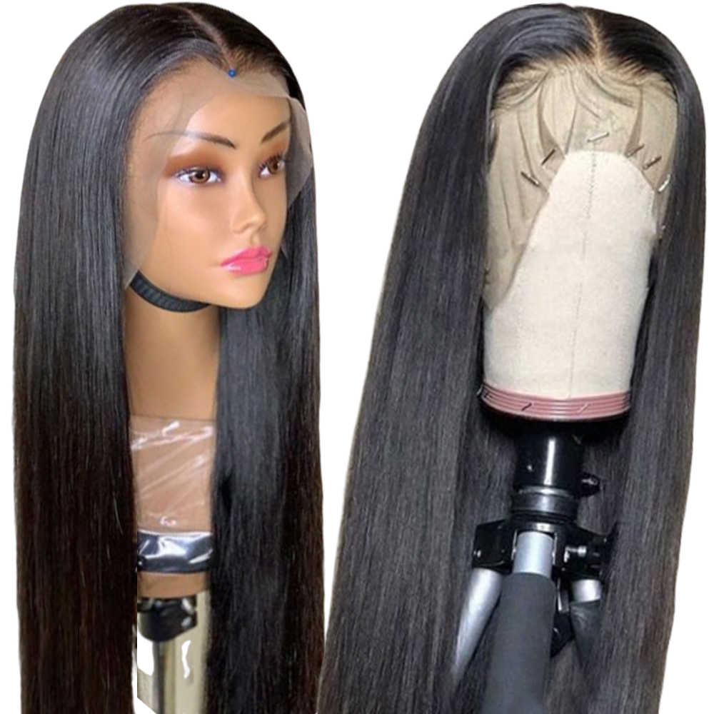 360 perucas de cabelo humano frontal do laço para preto feminino peruano em linha reta 13x6 transparente glueless peruca dianteira do laço pré arrancado remy