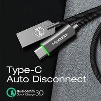 Mcdodo кабель usb type C QC3.0 кабель для быстрой зарядки для huawei Xiaomi samsung S10 9 автоматическое отключение зарядного устройства usb-кабель type C