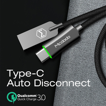 Mcdodo USB סוג C כבל QC3.0 מהיר טעינת כבל נתונים עבור Huawei Xiaomi סמסונג S10 9 אוטומטי ניתוק מטען USB כבל סוג C