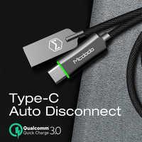 Mcdodo USB Tipo C Cavo QC3.0 Veloce di Ricarica Cavo Dati per Huawei Xiaomi Samsung S10 9 Auto Scollegare Caricabatterie USB tipo di cavo C