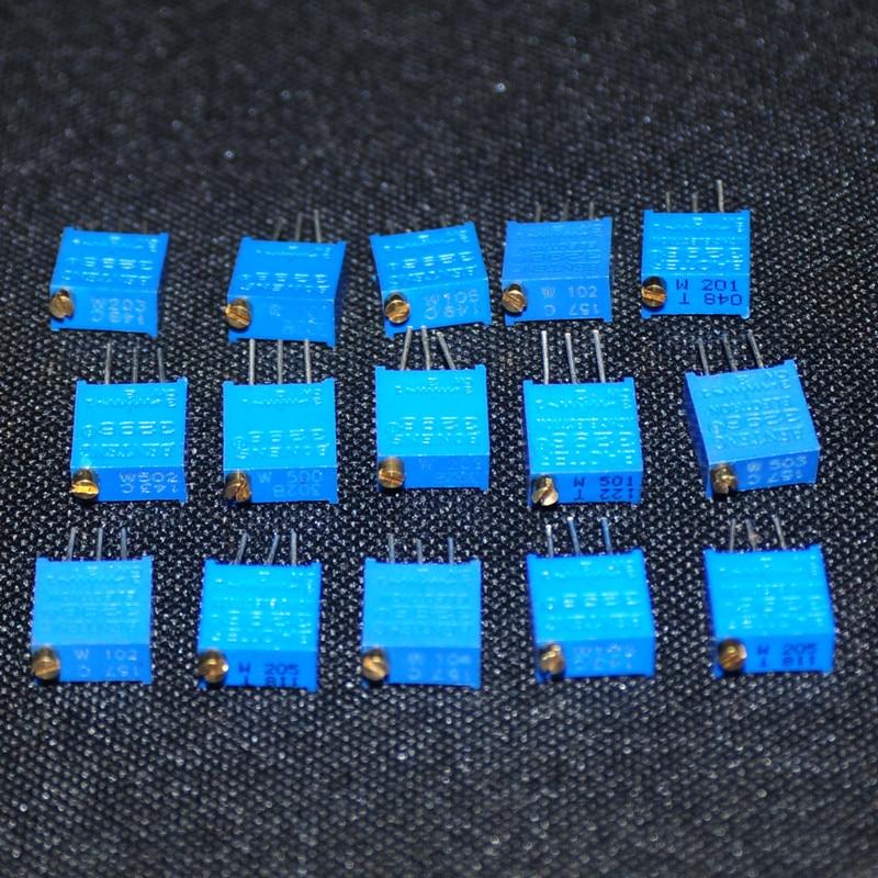 15pcs Set Of Resistors Variable Resistor Resistencias Pack 3296 Resistance Potentiometer 15Values 1pcs Each ( 50OHM ~ 2M OHM )