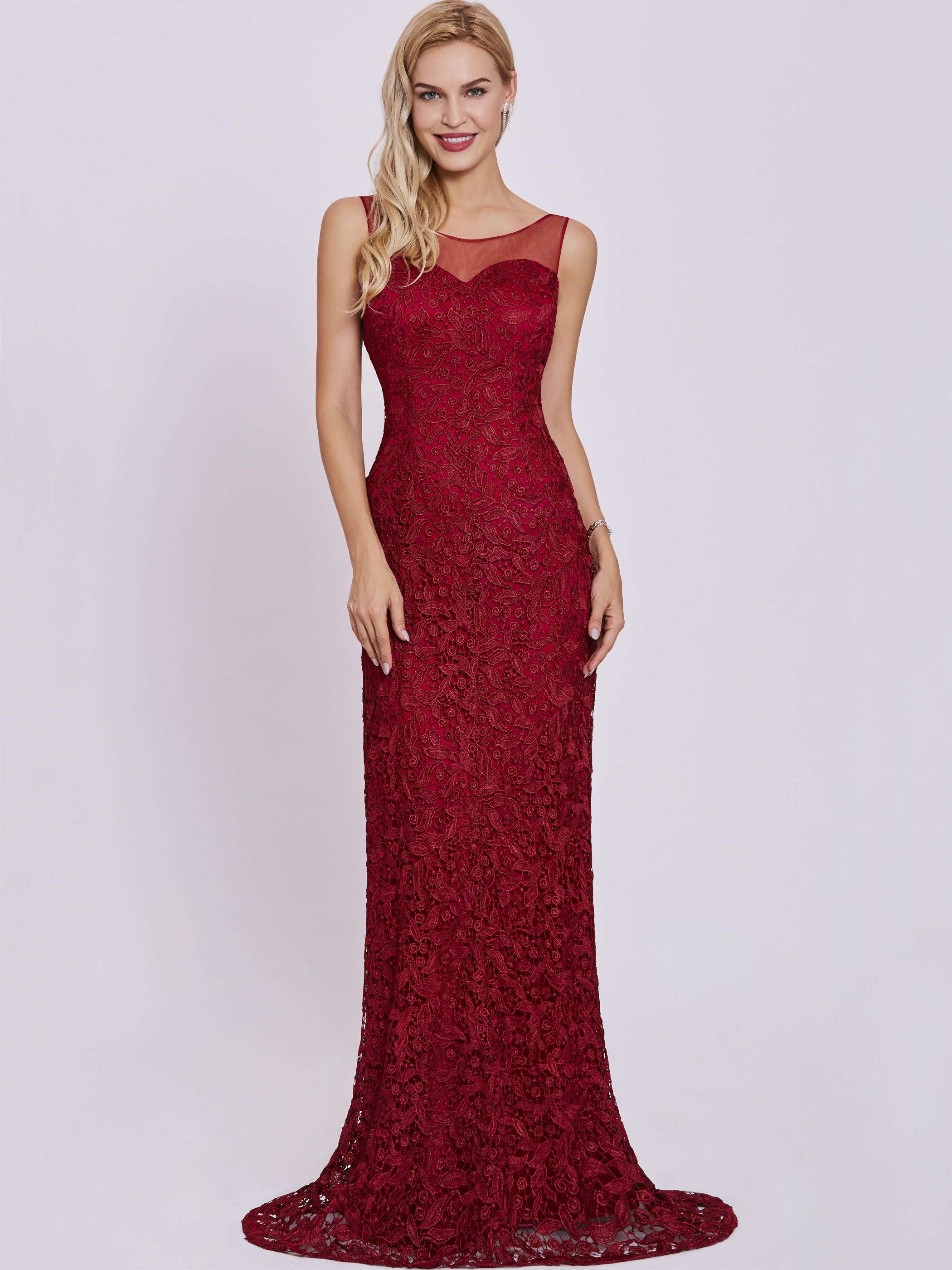 Dressv Scoop Neck Evening Dress Burgundy Sleeveless Sheath Floor Length Gown Women Lace Appliques Formal Long Evening Dresses
