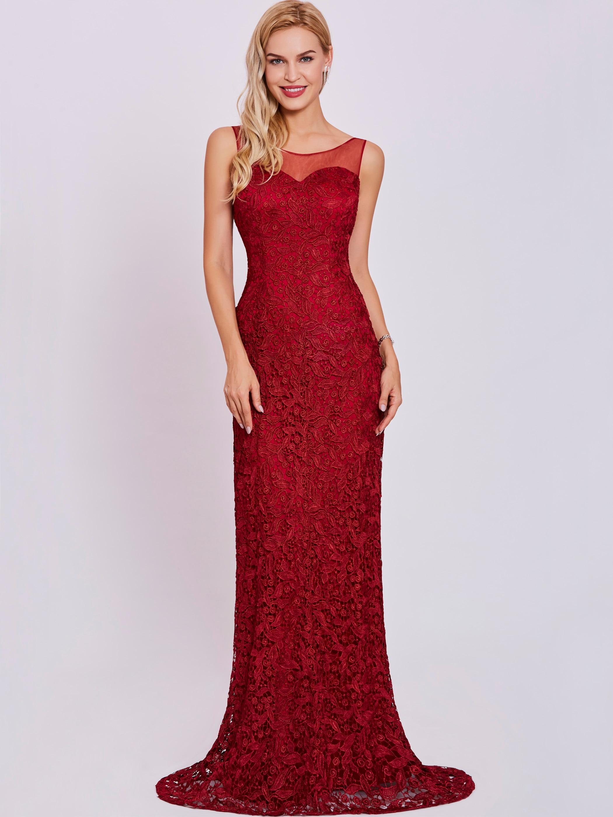 Dressv Scoop Neck Evening Dress Burgundy Sleeveless Sheath Floor Length Gown Women Lace Appliques Formal Long Evening Dresses