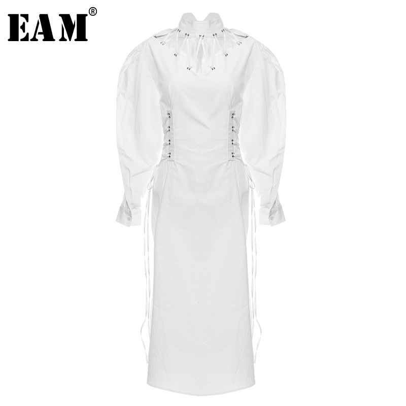 [EAM] Women Hollow Out White Bandage Long Shirt Dress New Stand Collar Long Sleeve Loose Fit Fashion Spring Autumn 2020 1N239