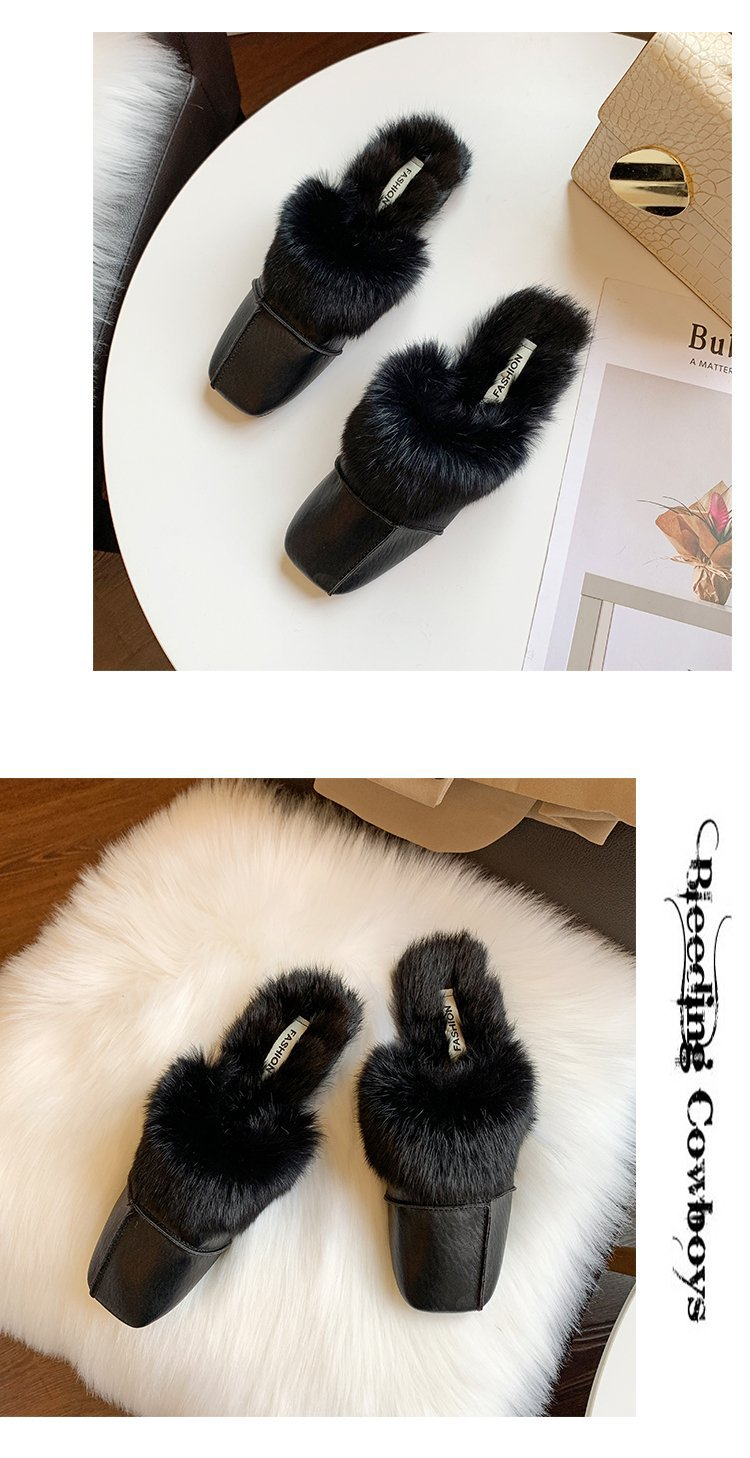 square close toe fur mules shoes flats casual rabbit hair slingback lazy slippers handmade sewing pleated leather slides female 50