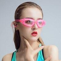 Güvenlik ve Koruma'ten Emniyet gözlüğü'de Gözlük kadın erkek yüksek çözünürlüklü su geçirmez anti sis yüzücü gözlükleri düz cam miyopi yetişkin erkek şeffaf çocuklar yüzme eq