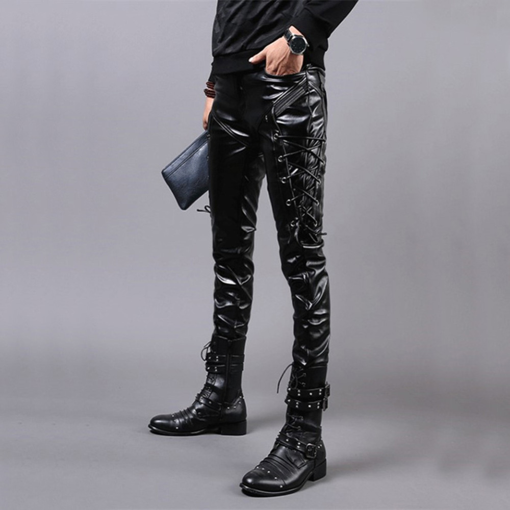 Men`s Rock Steampunk Lace Up PU Leather Motocrcyle Pants Slim Fit Punk Style Party Stage Performance Faux PU Leather Trousers