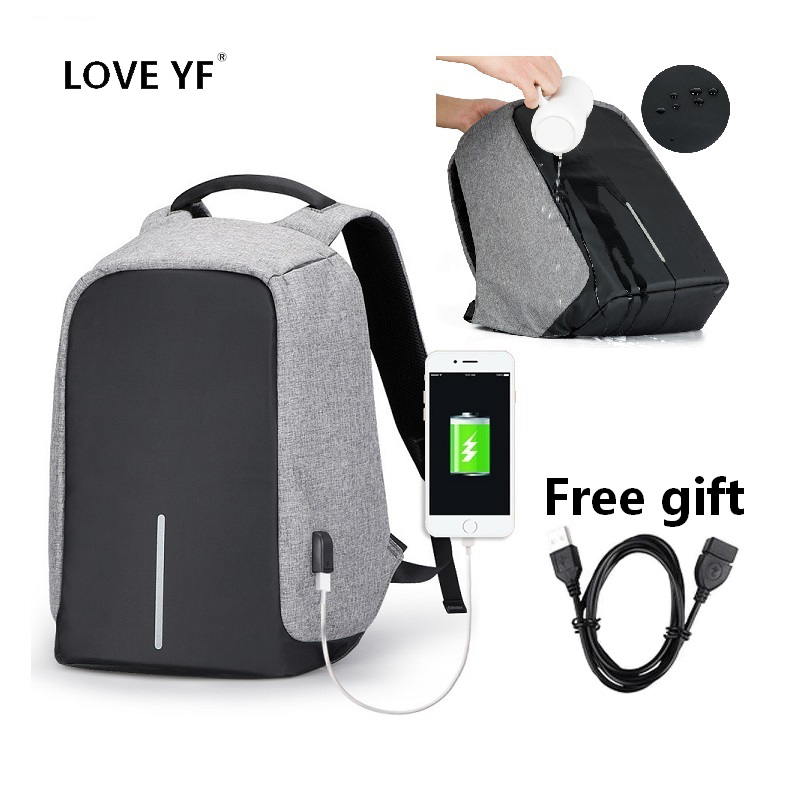 Waterproof backpacks intelligent Anti-theft backpack USB student 15.6 <font><b>inch</b></font> <font><b>laptop</b></font> school <font><b>bags</b></font> travel backpack mochila con compar image