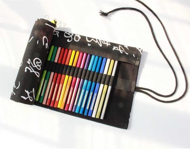ช้างสีแดงสีดำต้นไม้รูปแบบแห่งชาติผ้าใบดินสอสีม้วนม้วน12/24/36/48/72ช่องเก็บดินสอใช้งานง่าย