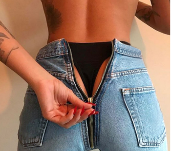 womens denim zip open from the back distressed high waist jeans